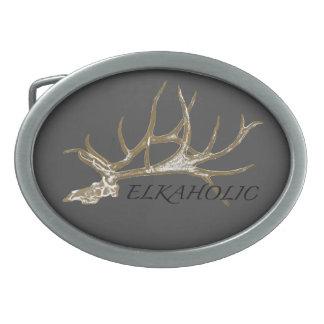 Elkaholic side view belt buckle