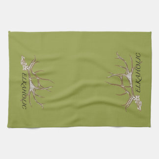 Elkaholic side view kitchen towel