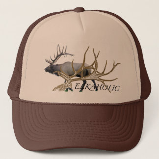 Elkaholic side view trucker hat