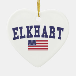 Elkhart US Flag Ceramic Ornament