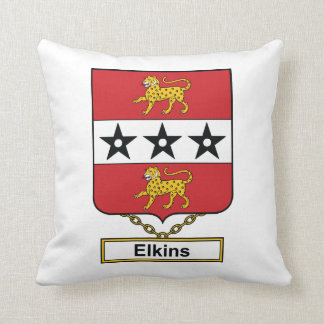 Elkins Family Crest Throw Pillow