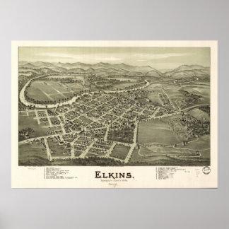 Elkins W. Virginia 1897 Antique Panoramic Map Poster