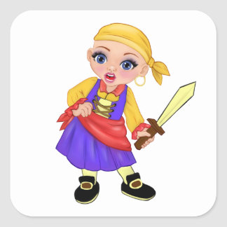 Ella The Enchanted Princess Who Are You? Pirate Square Sticker