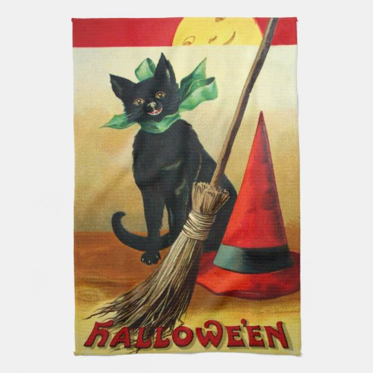 Ellen H. Clapsaddle: Black Cat, Broom and Hat Hand Towel