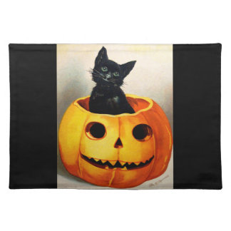 Ellen H. Clapsaddle: Black Cat in Jack O'Lantern Placemat