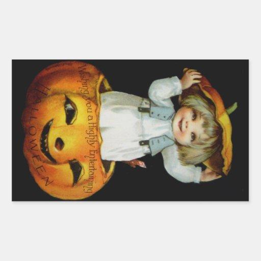 Ellen H. Clapsaddle: Boy in Pumpkin Rectangular Sticker