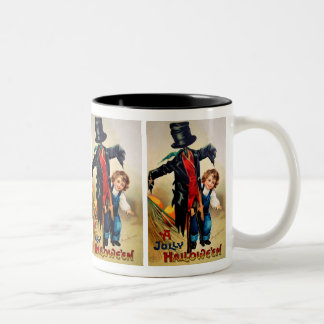 Ellen H. Clapsaddle: Boy with Scarecrow Two-Tone Coffee Mug
