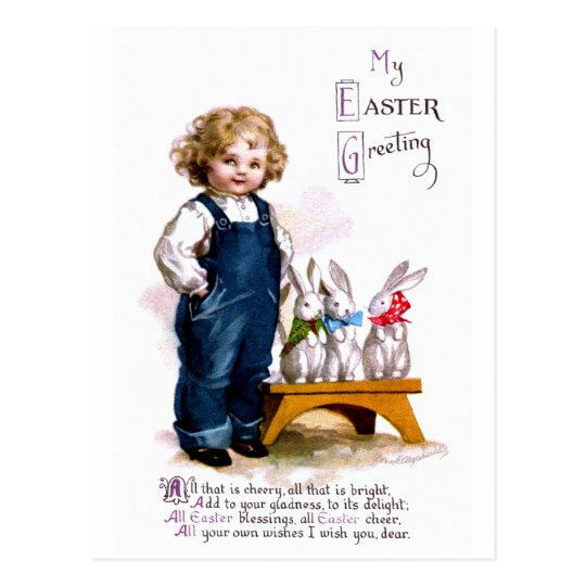 Ellen H. Clapsaddle: Child with tree bunnies Postcard