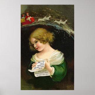Ellen H. Clapsaddle - fille de Noël avec la lettre Poster