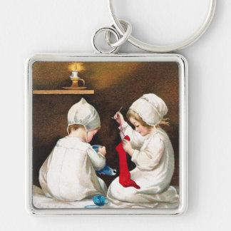 Ellen H. Clapsaddle: Girls Stitching Stockings Keychain