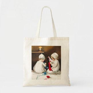 Ellen H. Clapsaddle: Girls Stitching Stockings Tote Bag