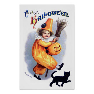 Ellen H. Clapsaddle: Halloween Harlequin with Cat Poster