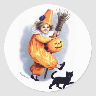 Ellen H. Clapsaddle: Halloween Harlequin with Cat Round Sticker
