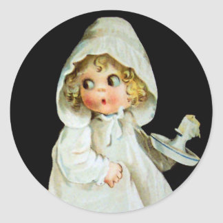 Ellen H. Clapsaddle: Little Girl with Candle Round Sticker
