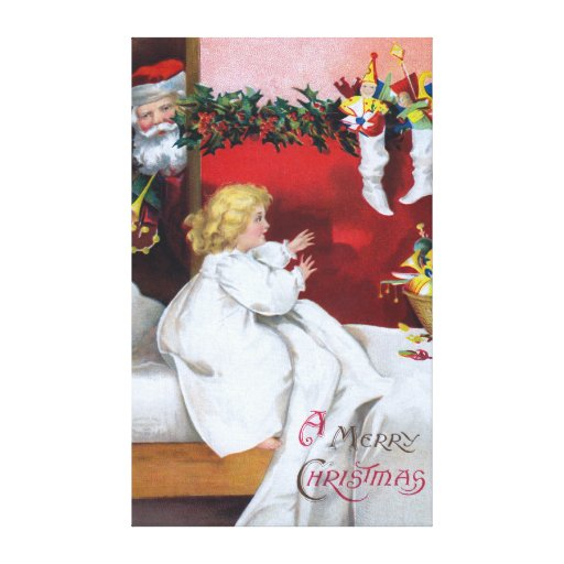 Ellen H. Clapsaddle: Watching Santa Gallery Wrapped Canvas