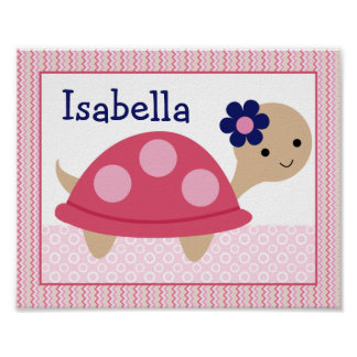 Ellie/Ella Elephant Turtle Nursery Art Poster