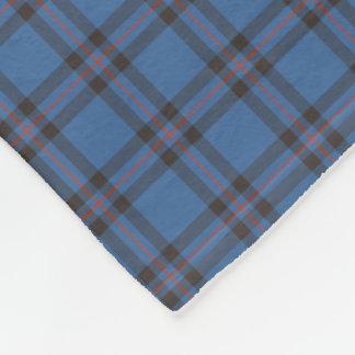 Elliot Clan Blue and Brown Tartan Fleece Blanket