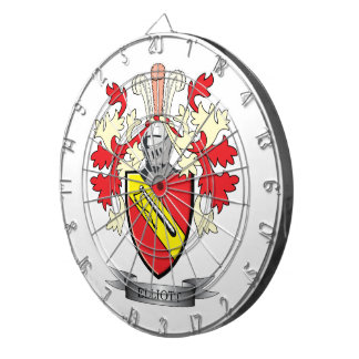 Elliott Family Crest Coat of Arms Dartboard