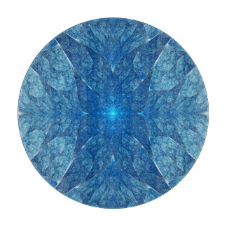 Elliptic Blue Fractal Cutting Board