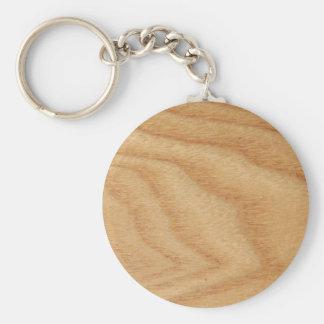 Elm Woodgrain Key Ring Basic Round Button Keychain