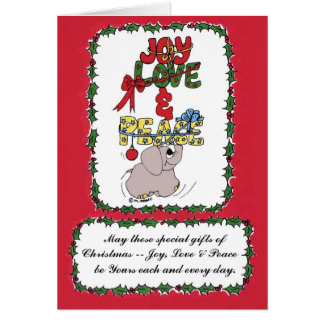 Elman the Elephant bearing Holiday Gifts Card