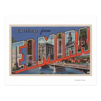 Elmira, New York - Large Letter Scenes Postcard
