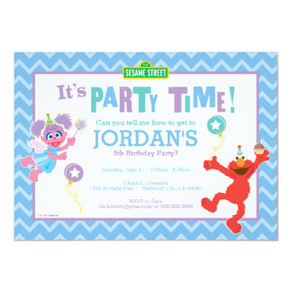 "Elmo and Abby Birthday 5"" X 7"" Invitation Card"