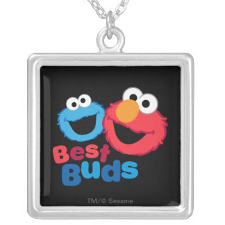 Elmo and Cookie Besties Silver Plated Necklace