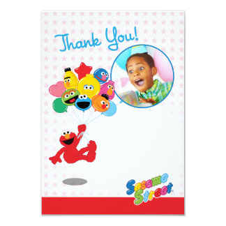 "Elmo and Pals Balloons Customizable Thank You 3.5"" X 5"" Invitation Card"