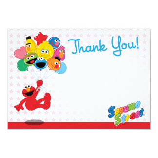 Elmo and Pals Birthday Balloons Thank You Card