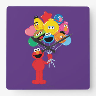 Elmo Balloons Square Wall Clock