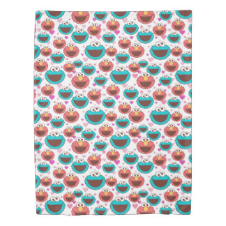 Elmo & Cookie Monster | Peace & Love Pattern Duvet Cover