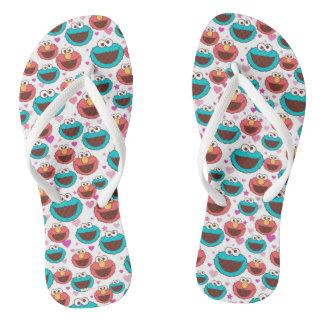 Elmo & Cookie Monster | Peace & Love Pattern Flip Flops