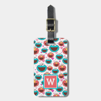 Elmo & Cookie Monster | Peace & Love Pattern Luggage Tag