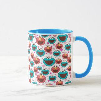 Elmo & Cookie Monster | Peace & Love Pattern Mug