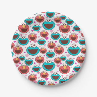 Elmo & Cookie Monster   Peace & Love Pattern Paper Plate