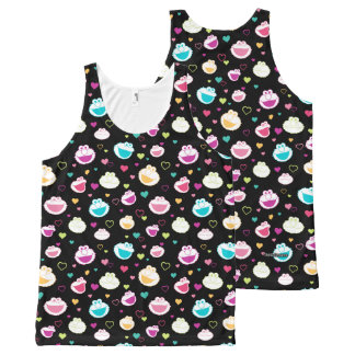 Elmo & Cookie Monster | Sweet Stuff Heart Pattern All-Over-Print Tank Top
