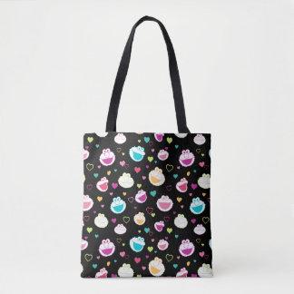 Elmo & Cookie Monster | Sweet Stuff Heart Pattern Tote Bag