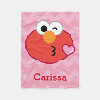 Elmo Face Throwing a Kiss | Add Your Name Fleece Blanket