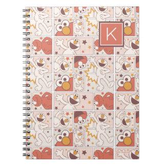 Elmo | Happy Little Monster Comic Pattern | Monogr Spiral Notebook