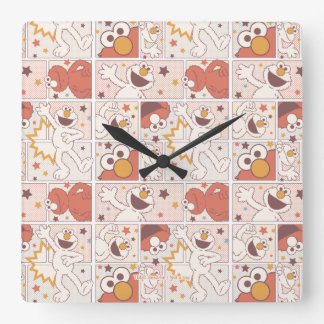 Elmo | Happy Little Monster Comic Pattern Square Wall Clock