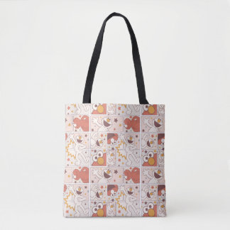 Elmo | Happy Little Monster Comic Pattern Tote Bag