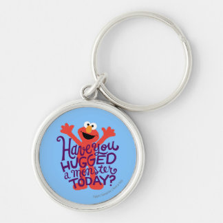 Elmo Hugging Silver-Colored Round Keychain