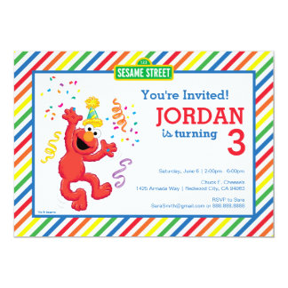 "Elmo Neutral Birthday 5"" X 7"" Invitation Card"
