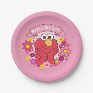 Elmo   Peace & Love Paper Plate