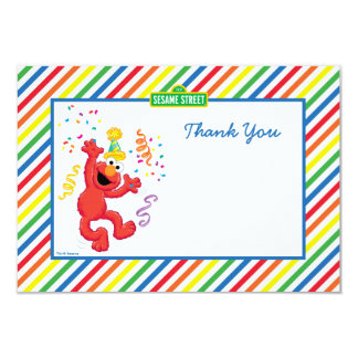 "Elmo Striped Birthday Thank You Cards 3.5"" X 5"" Invitation Card"