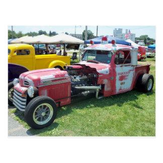 Elongated Modifed Red Fire Engine Postcard