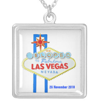 Elope Las Vegas Wedding Date Square Pendant Necklace