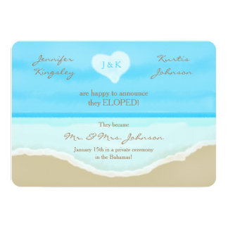 Elopement Announcement Invitation Beach Watercolor