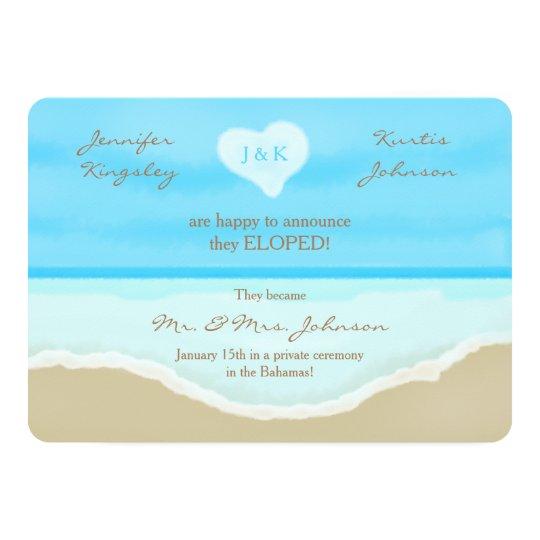 Elopement Announcement Invitation Beach Watercolor